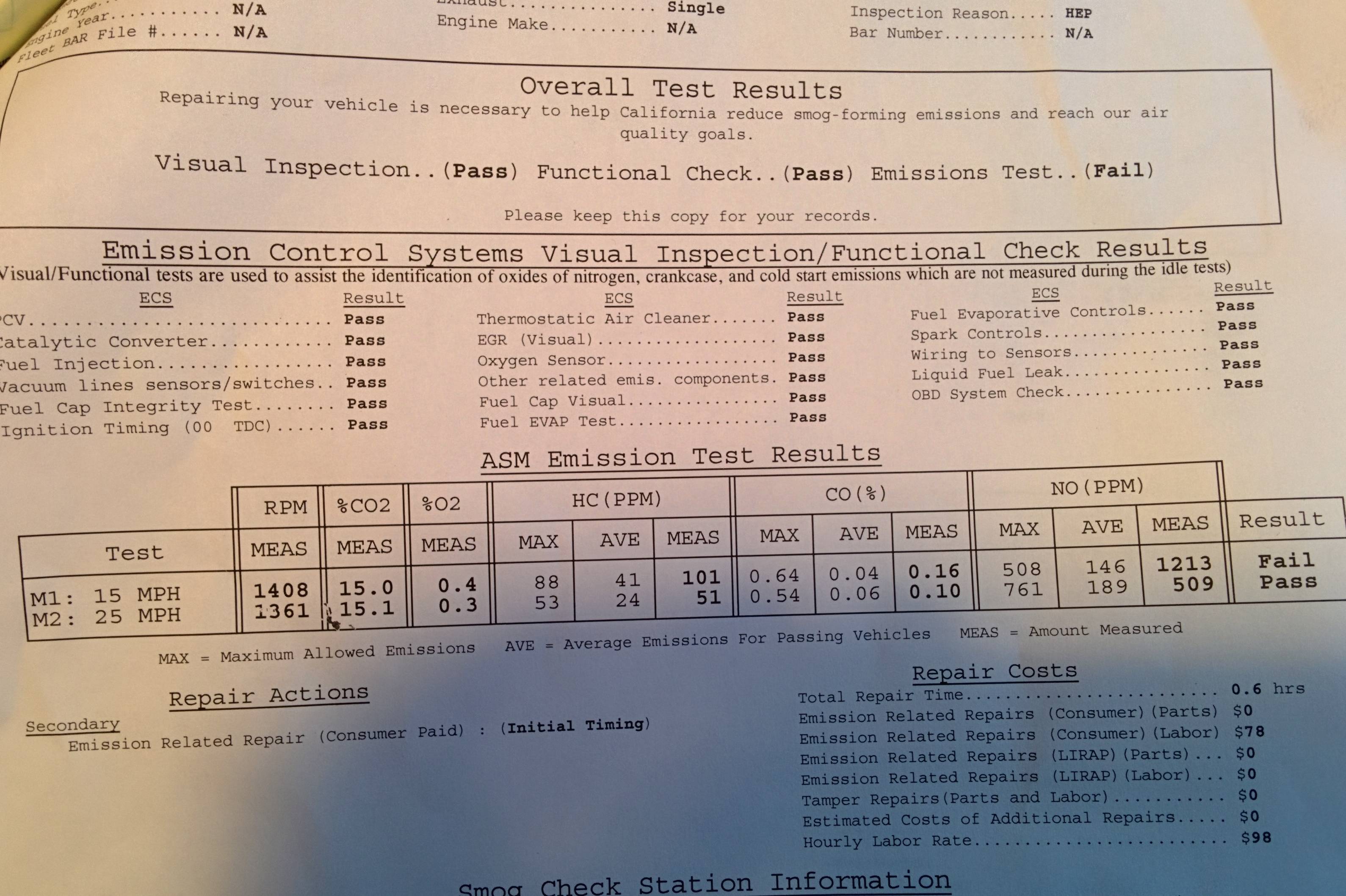 '94 Chevy Astro Smog Results