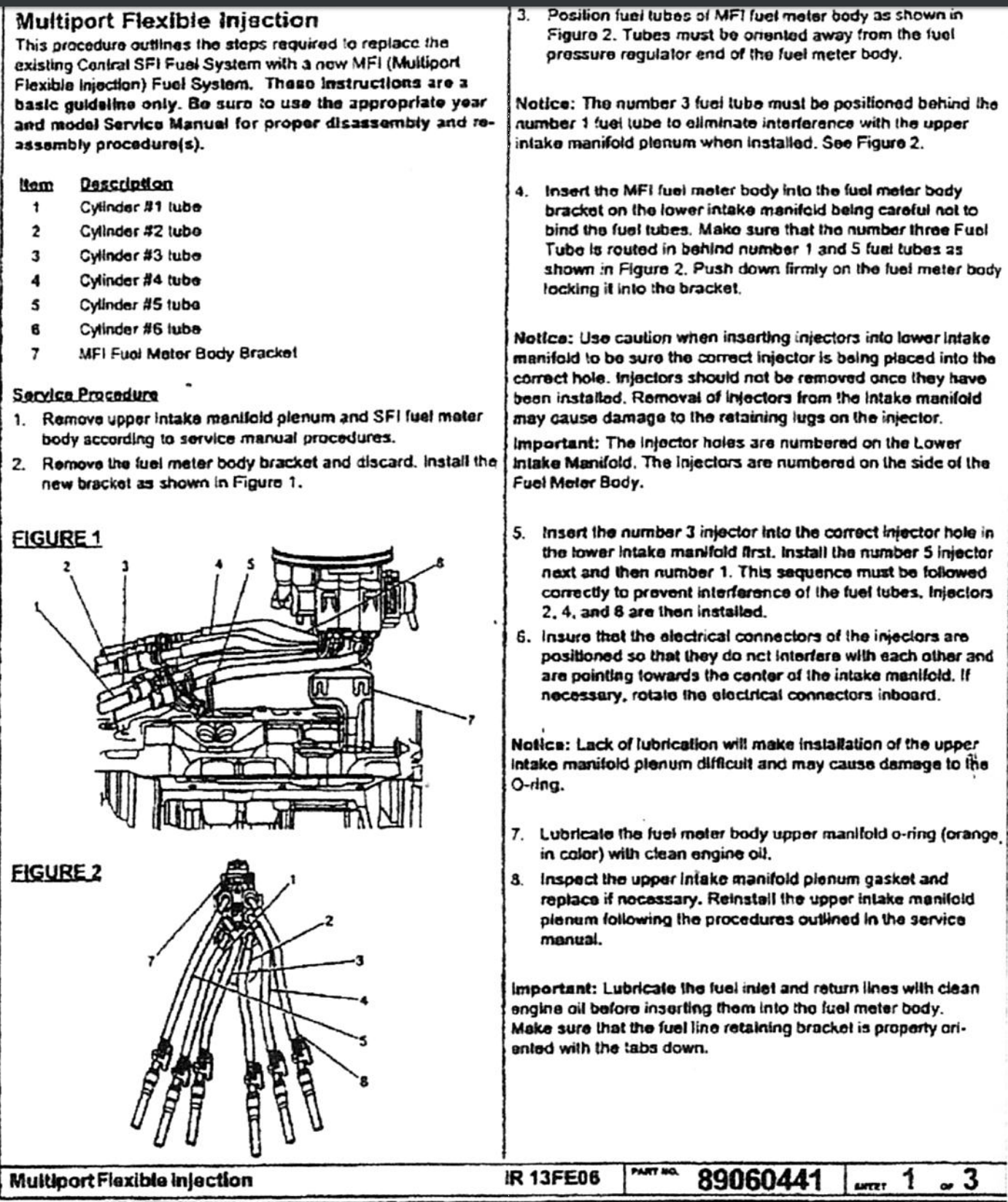 ACDelco instruction sheet